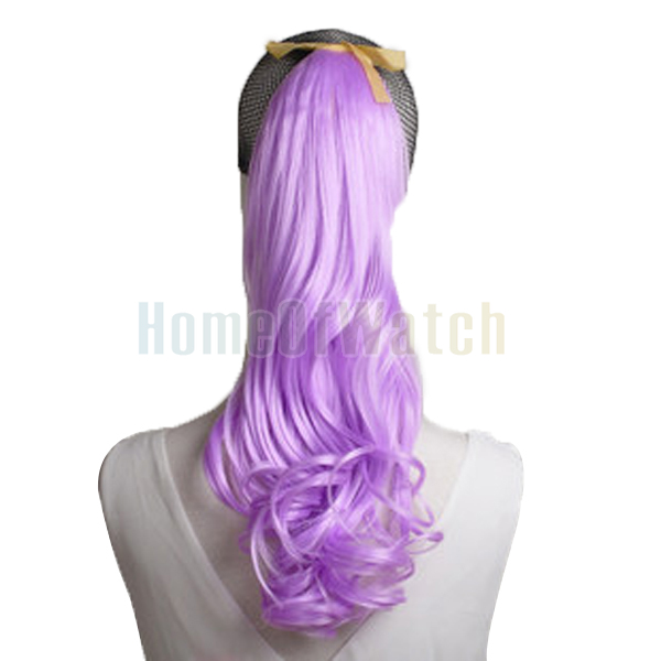 Buy Natural Synthetic Light Purple Curly Ponytail Hair Extensions