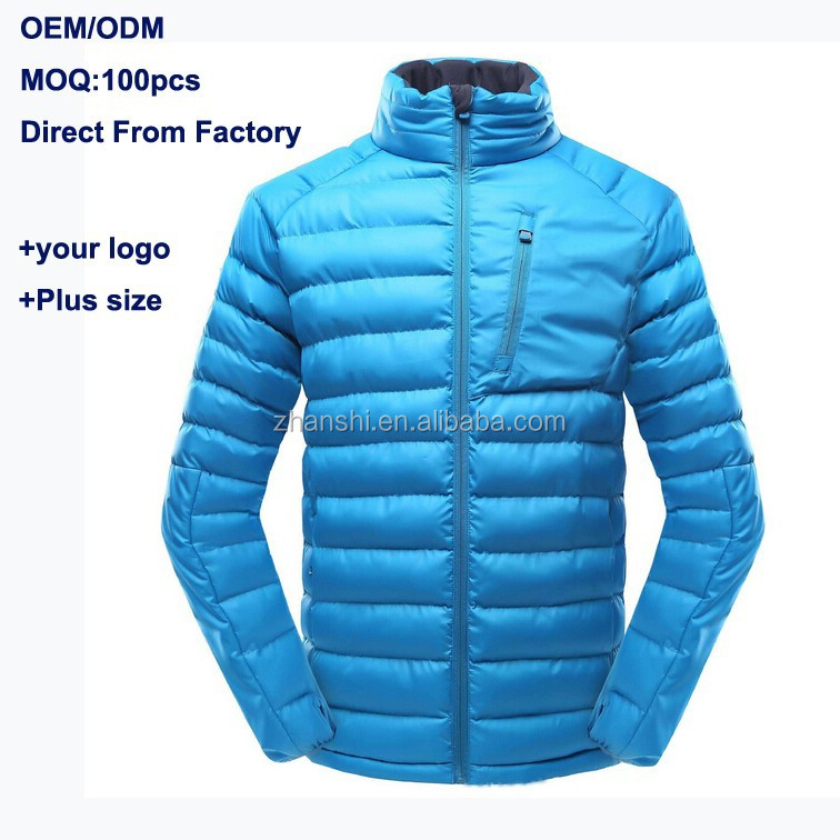 China Clothing Manufacturer Wholesale Windproof Waterproof Canada Style Shiny Men's Goose Down Jacket Feather