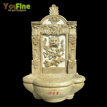 Garden indoor natural stone lion head wall fountain