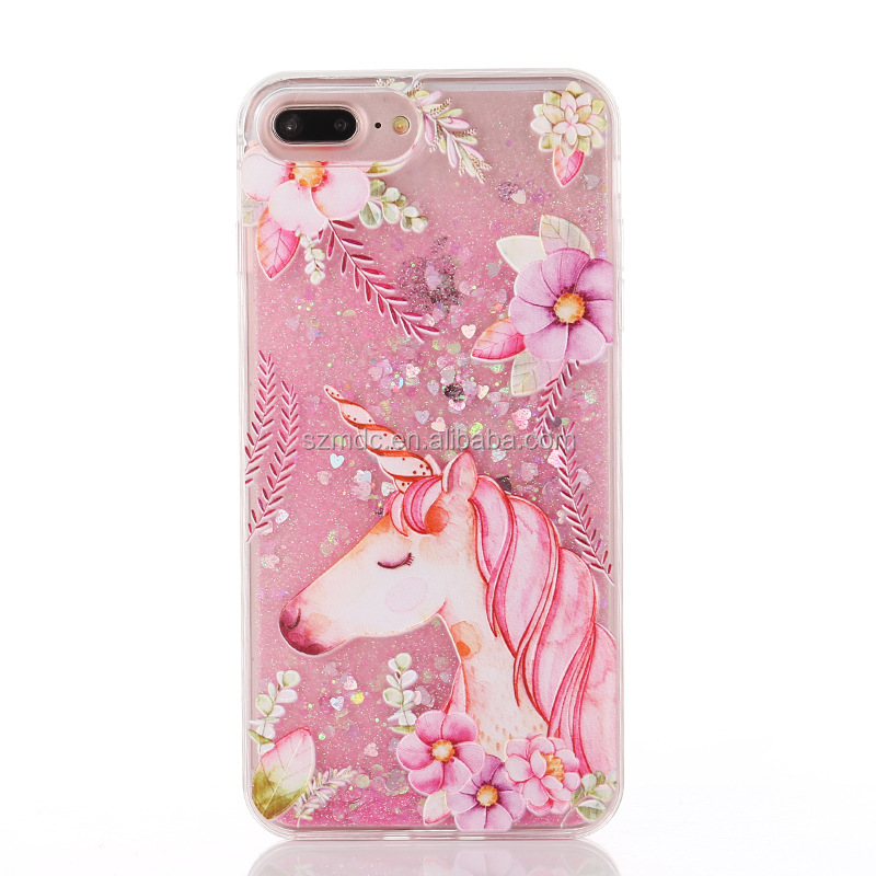 2017 New Unicorn Glitter Liquid Sand Cell Phone Case For iPhone X 8 Plus 6 7