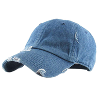 Classic Custom Denim Distressed Vintage Dad Hat No Logo