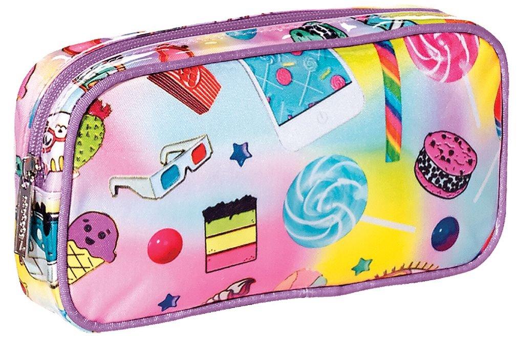 "iscream 'Funky Flair' 8.5"" x 4.5"" Bold Print Zippered Cosmetic Bag"