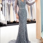 2019 shiny sequins beaded embroidery silver tulle long sleeve mermaid evening dresses india