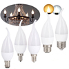 LED E14 Bulb 220V 7W 9W 12W Golden Silver Aluminum Candle Lamp Light For Crystal Chandelier