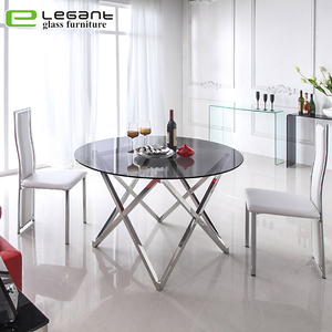 Modern Style Round Organic Glass Restaurant Dining Table For Weddings