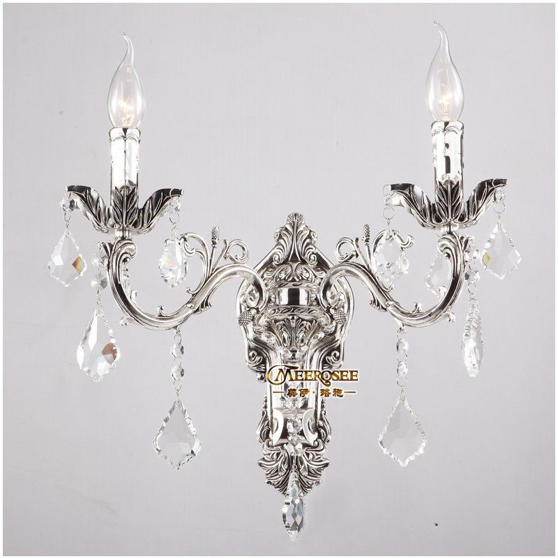 MEEROSEE Wholesale Crystal Wall Light Fixture Golden/Silver Wall Sconces Lamp Brackets Chandelier Free Shipping MD8861-L2