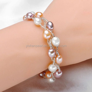 5.5-6.6mm fashion freshwater pearls AAA birthday gift chain bracelet jewerly