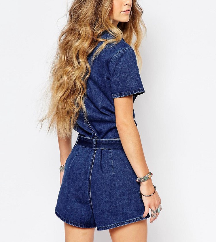 0c6112c112b4 wholesale garment importers latest style short sleeve plunge denim shorts  jumpsuit