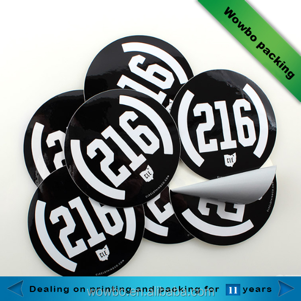 custom made black round stickers / matte black sticker paper
