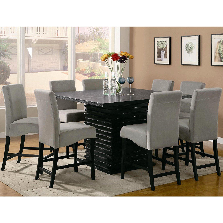 A Line Furniture Bass Modern Black Dazzling Wave Design Grey Upholstered Counter Height Dining Set Beige/Grey 1 Table, 4 stools