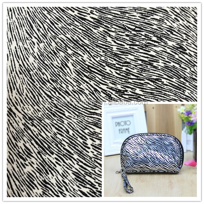 2017 PVC zebra leather very hot sell for ladies purse, handbag usage