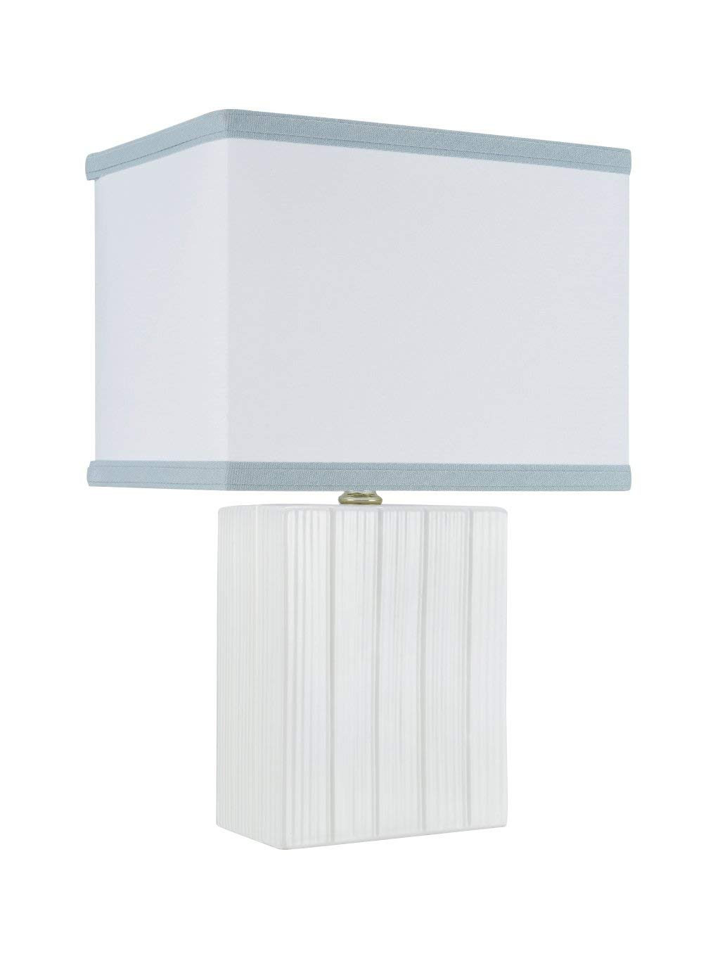 """Aspen Creative 40089 15 1/4"""" High Transitional Ceramic Table Finish with Hardback Rectangle Shaped Lamp Shade in Off White, 10"""" + 7"""" Wide 7"""", Ivory"""