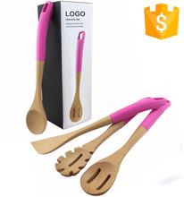 Multi-Color Handles Eco-friendly Naturally 4 Piece Bamboo Wooden Spoons Cooking Spatula Silicone Cooking Utensil Set
