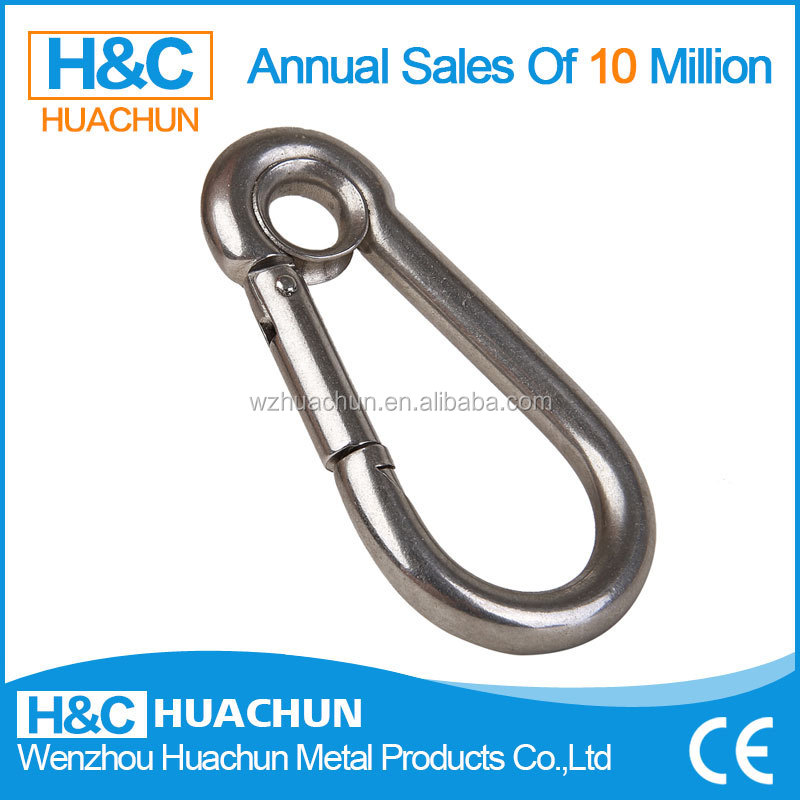 High quality custom stainless steel carabiner snap hook with eyes HC-IS009