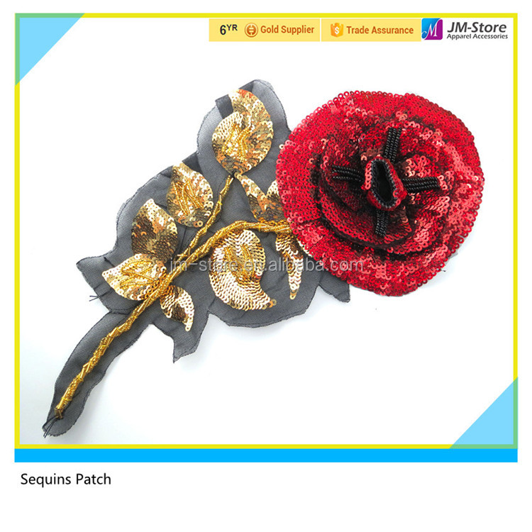 Iron 3D Embroidery Flower Patch Decorative Sequin Fabric Patch for Garment