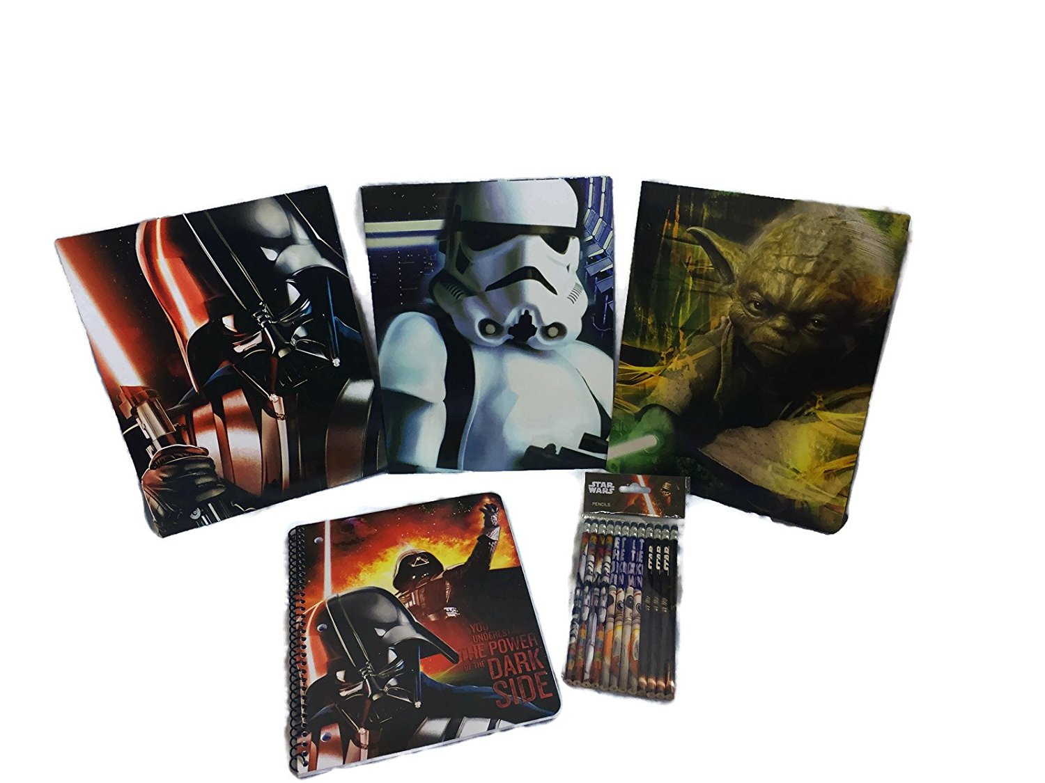 Star Wars School Supply Bundle: 5 Items- Three Star Wars Themed Subject Folders, One Pack of Star Wars Themed Pencils, Plus One Star Wars Themed Composition Notebook