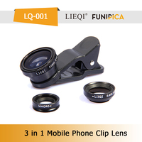 Universal funning photograph wide angle lens fisheye lens macro lens 3 in 1 clip-on camera lens for mobilephone/ip/pad LQ-001