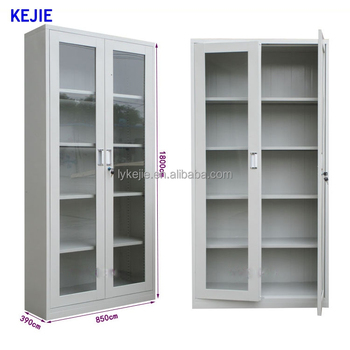 Best Selling Stainless Steel Two Glass Display Sliding Door Steel File  Cabinet Open Face File Cabinet