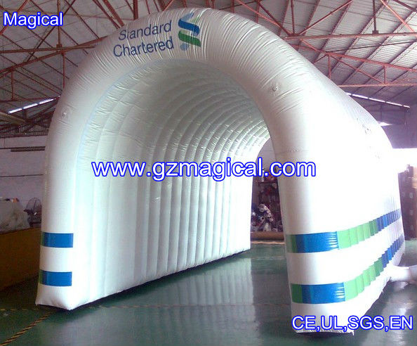 white inflatable tunnel marquee for event