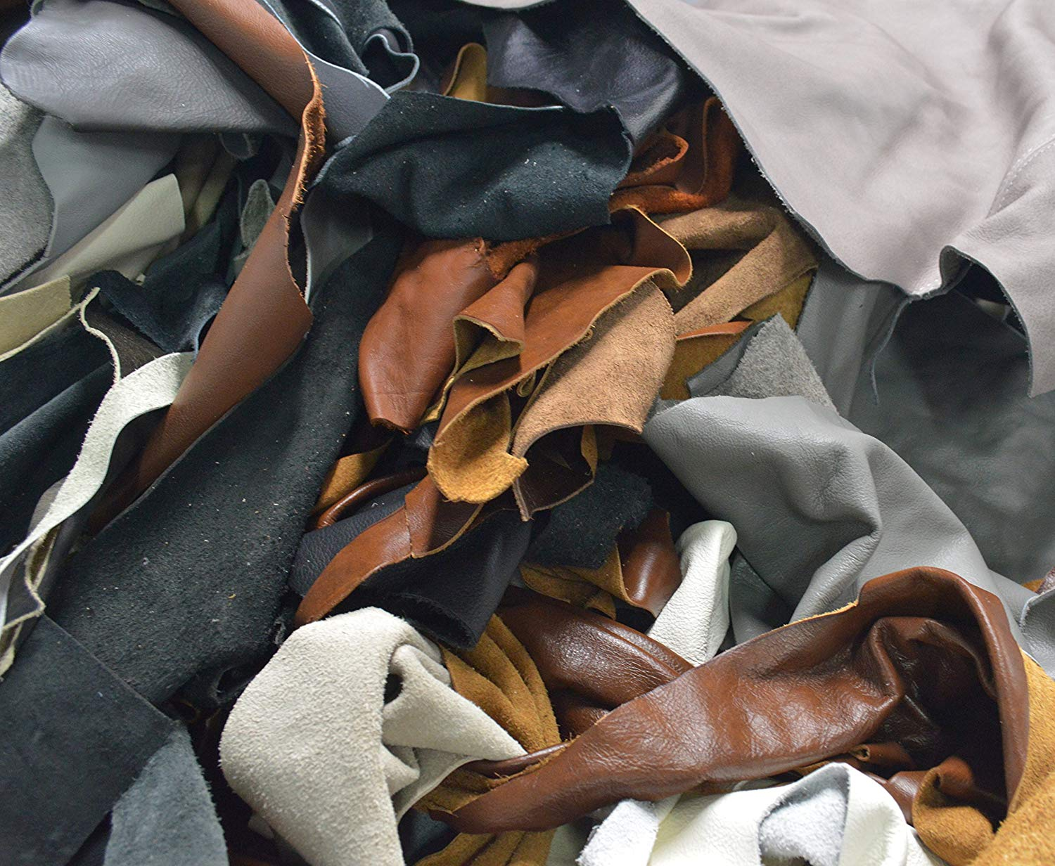 Scrap Upholstery Leather Cowhide Remnant Craft Pieces Color Mix 2-3 oz