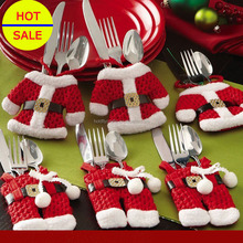 christmas decorations wholesale hot sale christmas clothes pants cutlery sets santa cutlery holder