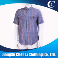 latest design mens short sleeve shirt chest pocket blue floral plaid men's t shirt