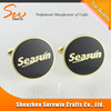Round shape balck printed logo with epoxy wholesale metal cufflink for business promotional gifts