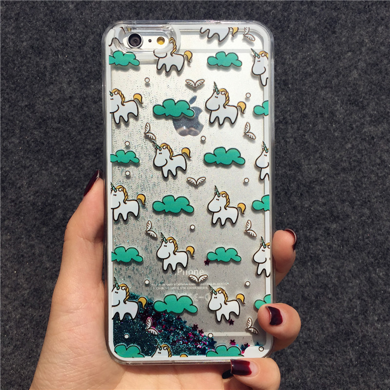 New Dynamic Liquid Glitter Quicksand Bling Luxury Cartoon Unicorn Hard Phone Case Back Cover For iPhone