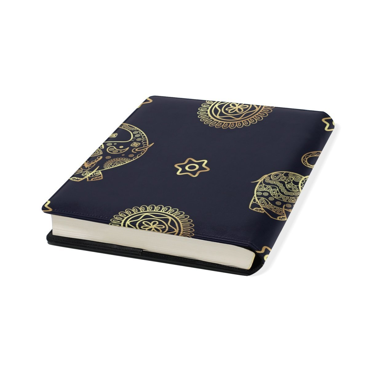 Sunlome Gold Elephant Pattern Stretchable PU Leather Book Cover 9 x 11 Inches Fits for School Hardcover Textbooks