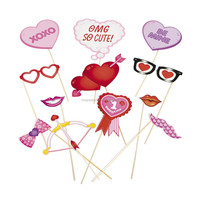 Paper Valentine Photo Booth Stick Props Party GAME FUN
