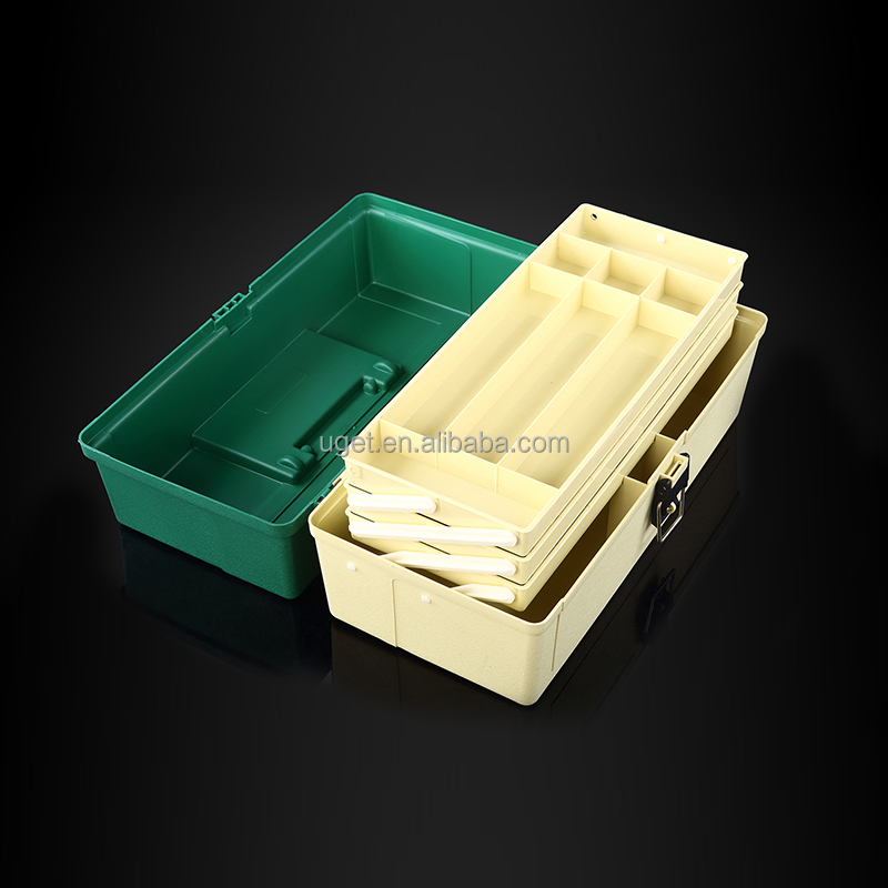 Professional portable plastic fishing tackle box for wholesale, Yellow etc