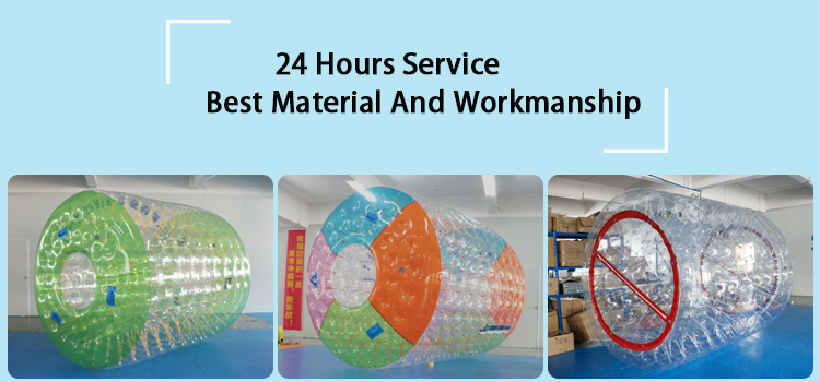 Factory 2.7 x 2.4 x 1.8m 0.8mm PVC foam lake inflatable water toy roller games rolling ball skate bubbles
