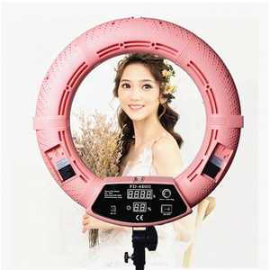 Yidoblo Pink FD-480II selfie beauty ring light with rechargeable, video shooting led light kit 18'' 5500k 480 led