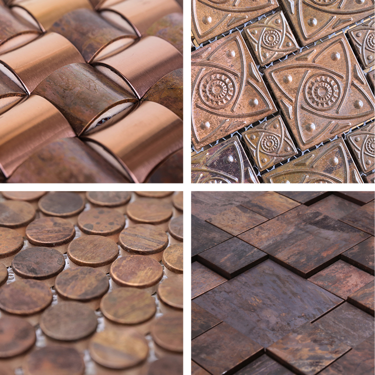 Luxury bronze mosaic for bathroom hotel tv background wall tiles factory selling penny round bathroom bronze mosaic tile