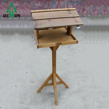 Cheap Outdoor Decorative Garden Wooden Bird House Cage With Stand Wood Bird  Feeder