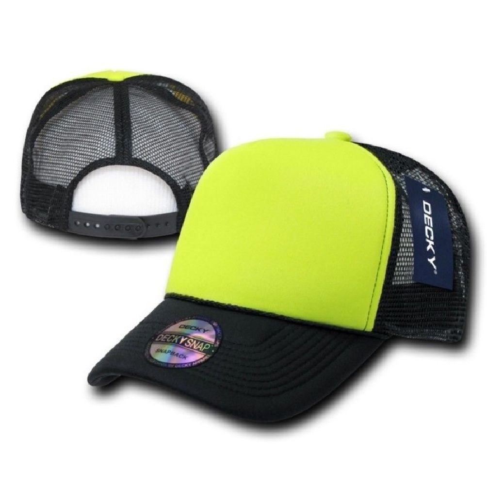1441660ad6e3fc Get Quotations · Black & Neon Yellow Classic Mesh Foam Trucker Vintage Baseball  Hat Hats Cap Caps