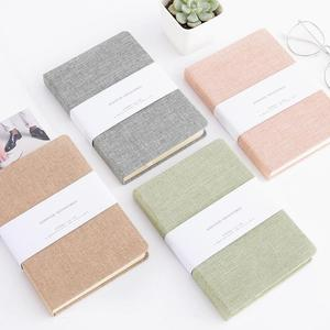 Wholesale printing biodegradable ecological stitched craft handmade fabric cover linen notebook