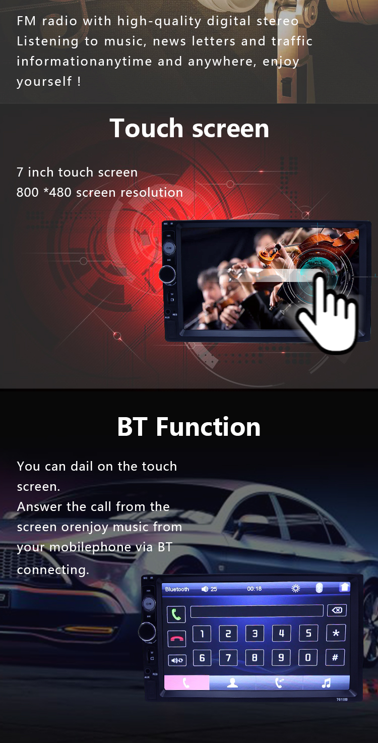 detachable radio double din touch screen car audio system for stereo car