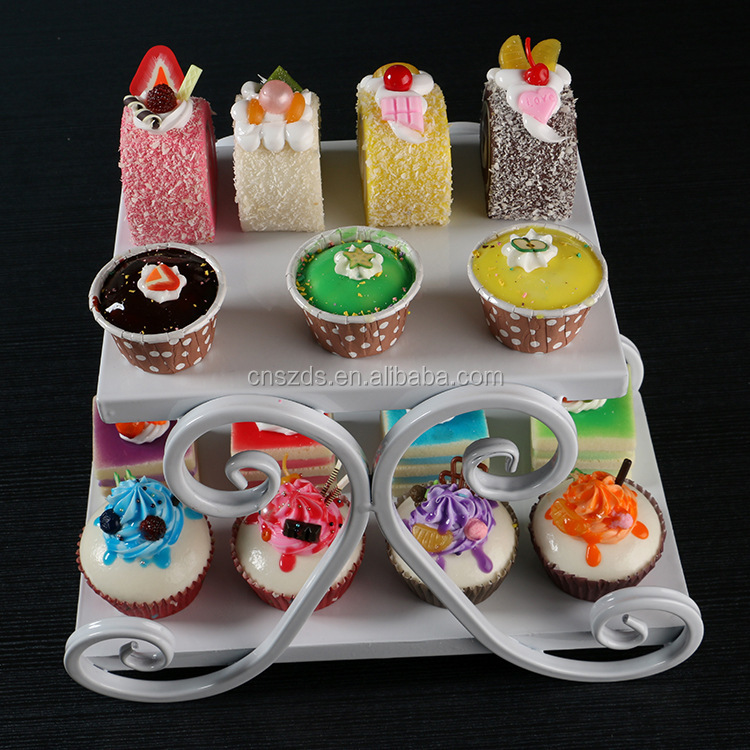 2 Tiers White Cupcake Iron Cake Stand Birthday Party Hotel Decoration Wedding Towers Dressert
