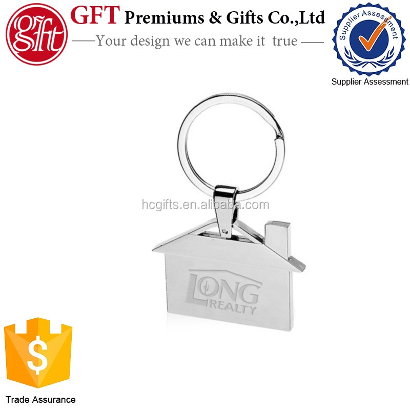 2016 Custom Real Estate Promotional Whole Metal House Shaped Keychains