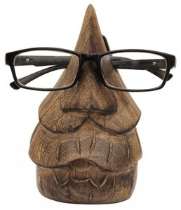 Wooden Color Funny Face Shape Spectacles Eyeglasses Holder Stand