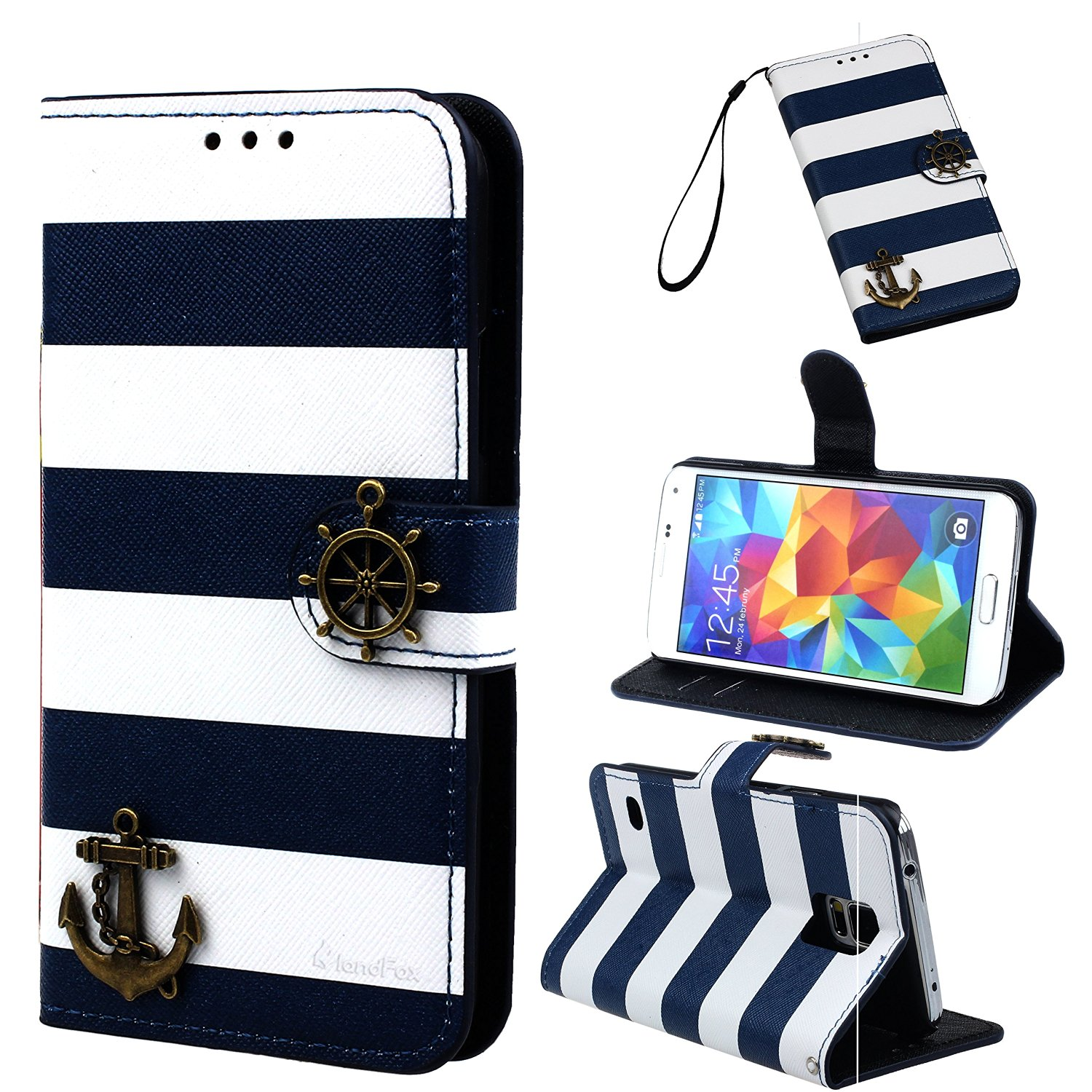 Bessky(TM) 1pc Hot Sell Navy Stripes Anchor Rudder Wallet Case Cover (Samsung Galaxy S5 i9600)