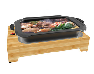 new style Kitchen appliances Bamboo electric hot pot grill and takoyaki