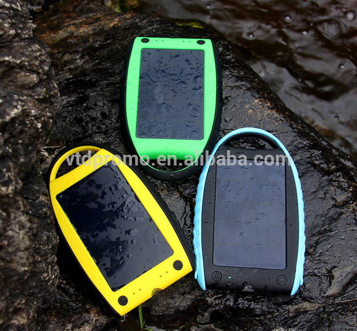 portable travel water proof solar power bank 4000mah for mobile phones