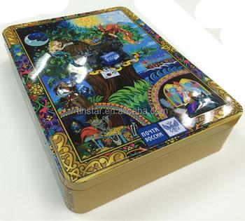 Oem Russia Design Kids Love Rectangular Game Card Music Tin Box