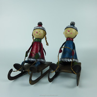Christmas Metal Handicraft Boy and Girl Sled Xmas Tree Decorations Ornaments