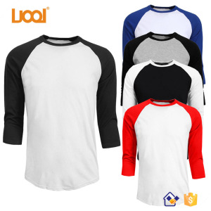 Wholesale Blank Cotton Printing Baseball 3/4 Raglan Sleeve T Shirt Men