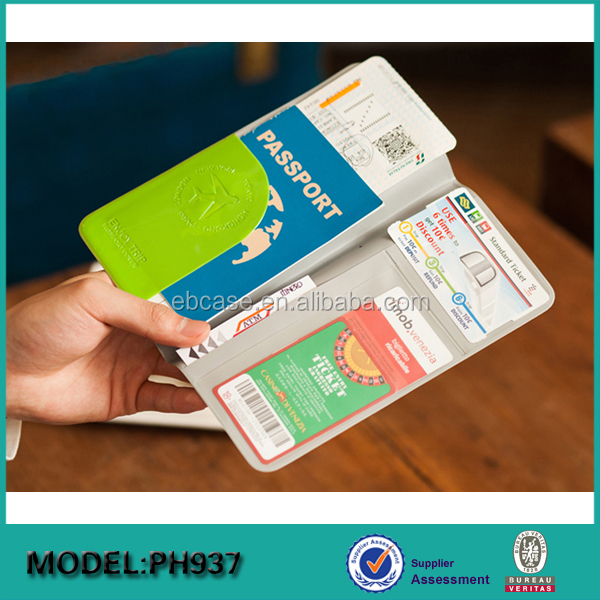 Long style Plastic PVC Passport holder cover travel ticket wallets