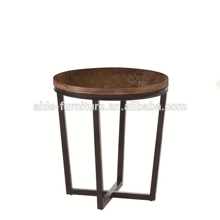 Modern Small Wooden Top Metal Leg Living Room  Corner Coffee Table
