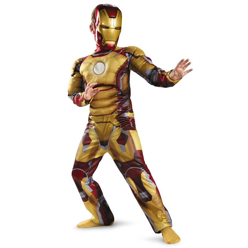 Iron Man Mark 42 Patriot Muscle Child Kids Halloween Costume Fantasia Avengers Superhero Cosplay Outfit